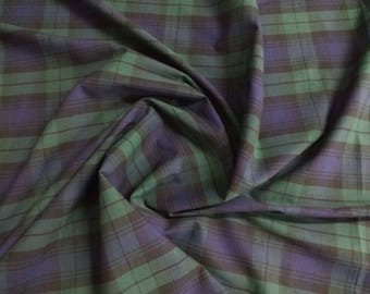 "Black Watch - Flat Weave 100% Cotton Tartan Fabric Material - Double Sided - 147cm (58"") wide"