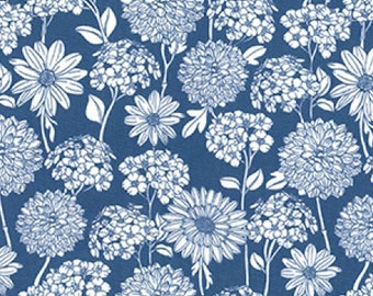 "White on Delph Blue Floral Flowers - 100% Cotton Poplin Dress Fabric - Material - Metre/Half - 44"" (112cm) wide"