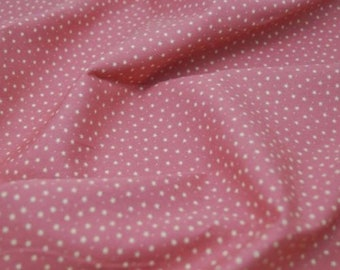 "White Stars & Spots on Pink - 100% Cotton Poplin Dress Fabric Material - 3mm Stars - Metre/Half - 44"" (112cm) wide"