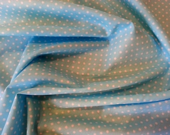 "Sky Blue - 100% Cotton Poplin Dress Fabric Material - 3mm Polka Dot / Spot - Metre/Half - 44"" (112cm) wide"