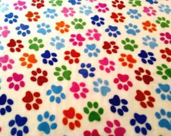 "Half Metre of Paw Print on Cream - Polar Fleece Fabric - Metre/Half - Anti Pil - 150cm (59"") wide"