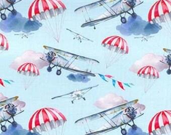 "Airplanes & Parachutes - Bi Planes 100% Cotton Poplin Dress Fabric - Metre/Half - 60"" (150cm) wide"