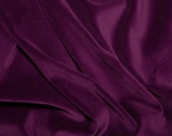 "Purple Premium 100% Cotton Velvet Fabric Material - 112cm (44"") wide"