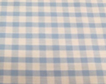 Pale Blue - Corded Gingham - Quarter Inch Check - Dress Fabric Material - Metre/Half - 44 inches (112cm) wide