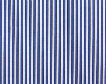 "Royal Blue / White - 100% Cotton Poplin Dress Fabric Material - 3mm Stripe - Metre/Half - 44"" (112cm) wide"