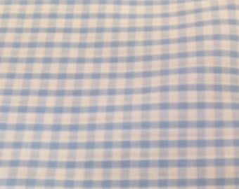 Pale Blue - Corded Gingham - Eighth 1/8 Inch Check - Dress Fabric Material - Metre/Half - 44 inches (112cm) wide