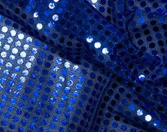 "Royal Blue - 6mm Sequin Fabric - Shiny Sparkly Material - 44"" (112cm) wide Knitted Backing"