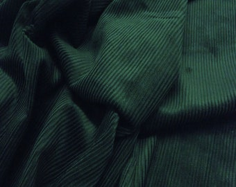 "Bottle Green - Cotton Corduroy 8 Wale Fabric Material - 144cm (56"") wide"