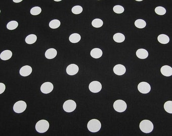 "Black - 100% Cotton Poplin Dress Fabric Material - 22mm Polka Dot / Spot - Metre/Half - 44"" (112cm) wide"