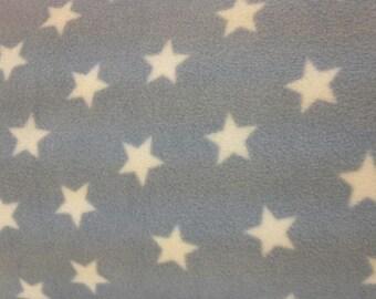 "White Stars on Pale Blue - Polar Fleece Fabric - Metre/Half - Anti Pil - 59"" (150cm) wide"
