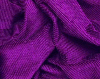 "Purple - Cotton Corduroy 8 Wale Fabric Material - 144cm (56"") wide"