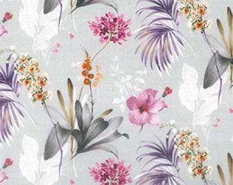 "Pink Purple Flowers - Floral 100% Cotton Poplin Dress Fabric - Metre/Half - 60"" (150cm) wide"