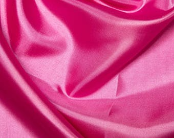 "Cerise Pink Habotai 'Silk' Lining Fabric Polyester Material 145cm (57"") Wide"