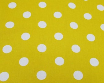 "Yellow - 100% Cotton Poplin Dress Fabric Material - 22mm Polka Dot / Spot - Metre/Half - 44"" (112cm) wide"