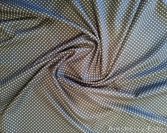 "Airforce - 100% Cotton Poplin Dress Fabric Material - 3mm Polka Dot / Spot - Metre/Half - 44"" (112cm) wide"