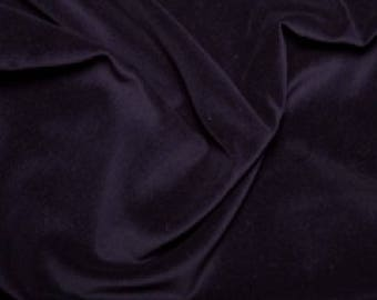 "Navy Blue Premium 100% Cotton Velvet Fabric Material - 112cm (44"") wide"