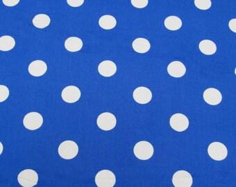 "Royal Blue - 100% Cotton Poplin Dress Fabric Material - 22mm Polka Dot / Spot - Metre/Half - 44"" (112cm) wide"