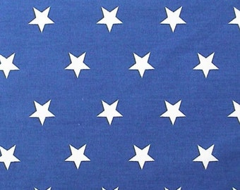 "White Stars on Royal Blue - 100% Cotton Poplin Dress Fabric Material - 20mm Stars - Metre/Half - 44"" (112cm) wide"