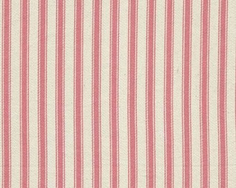 """Pink on Ivory - 100% Cotton Ticking Stripes Fabric Material - 137cm (53"""") wide"""