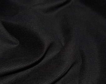 "Black - Needlecord Cotton Corduroy 21 Wale Fabric Material - 140cm (55"") wide"