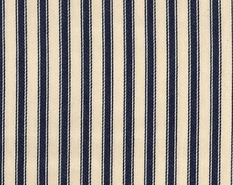 "Navy Blue on Ivory - 100% Cotton Ticking Stripes Fabric Material - 137cm (53"") wide"