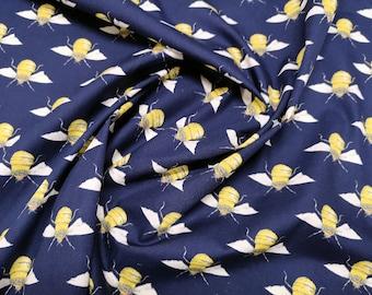 "Honey Bees on Navy Blue - 100% Cotton Poplin Dress Fabric - Material - Metre/Half - 44"" (112cm) wide"