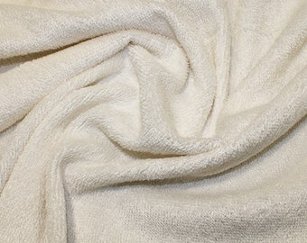 """Ivory/Cream Bamboo Terry Towelling Fabric - Plain Solid Colours - Towel Material - 150cm (59"""") wide"""
