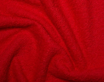 """Red Cotton Terry Towelling Fabric - Plain Solid Colours - Towel Material - 150cm (59"""") wide"""