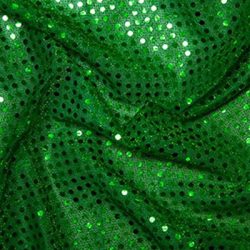 112cm 44 Shiny Sparkly Material Emerald Green wide Knitted Backing 3mm Sequin Fabric