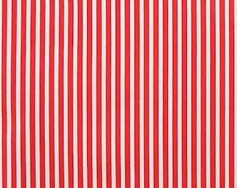 "Red / White - 100% Cotton Poplin Dress Fabric Material - 3mm Stripe - Metre/Half - 44"" (112cm) wide"