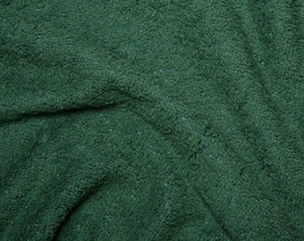 """Bottle Green Cotton Terry Towelling Fabric - Plain Solid Colours - Towel Material - 150cm (59"""") wide"""