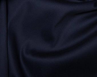 "Navy Blue - Plain Cotton Stretch Sateen Fabric Dress Material - 146cm (57"") wide"