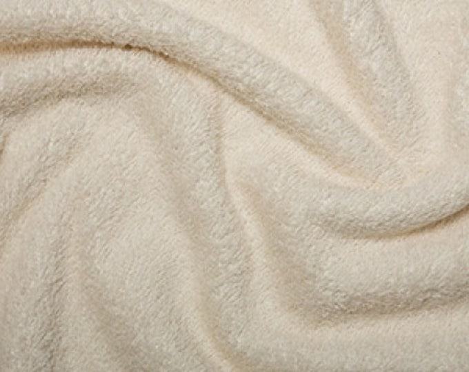"""Featured listing image: Cream Cotton Terry Towelling Fabric - Plain Solid Colours - Towel Material - 150cm (59"""") wide"""