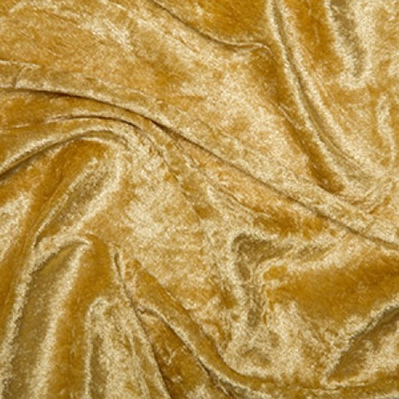 GOLD Crushed Velvet//Velour fabric//Material One way stretch **FREE P/&P**