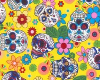 "Floral Flowers & Skulls on Yellow - 100% Cotton Poplin Dress Fabric Material - Metre/Half - 44"" (112cm) wide"