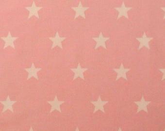 "White Stars on Pink - 100% Cotton Poplin Dress Fabric Material - 20mm Stars - Metre/Half - 44"" (112cm) wide"