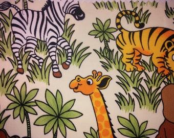 "Safari / Jungle Animals - 100% Cotton Poplin Dress Fabric Material - Metre/Half - 44"" (112cm) wide"