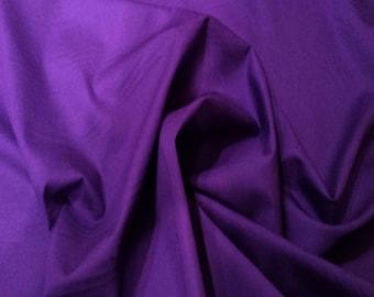 "Purple - 100% Cotton Poplin Dress Fabric Material - Plain Solid Colours - Metre/Half - 44"" (112cm) wide"