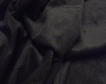 "Black - Cotton Corduroy 8 Wale Fabric Material - 144cm (56"") wide"