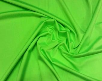 "Lime Green - Plain Nylon/Spandex All-Way Stretch Fabric Material - 150cm (59"") wide per metre / half"