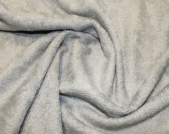 """Silver/Grey Bamboo Terry Towelling Fabric - Plain Solid Colours - Towel Material - 150cm (59"""") wide"""