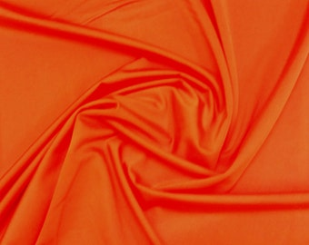 "Orange - Plain Nylon/Spandex All-Way Stretch Fabric Material - 150cm (59"") wide per metre / half"