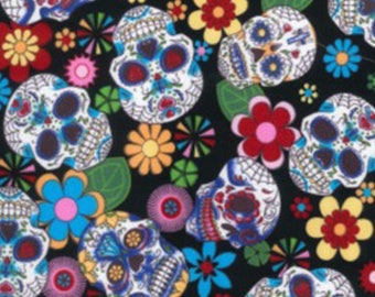"Floral Flowers & Skulls on Black - 100% Cotton Poplin Dress Fabric Material - Metre/Half - 44"" (112cm) wide"