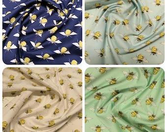 "Rose & Hubble Bumble Bees Fabric - 100% Cotton Poplin Material - Metre/Half- 44"" (112cm) wide"