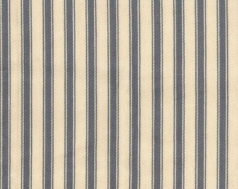 """Grey on Ivory - 100% Cotton Ticking Stripes Fabric Material - 137cm (53"""") wide"""