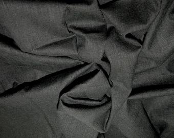 "Black - Linen Look 100% Cotton Dress Fabric Material - Metre/Half - 58"" (145cm) wide"