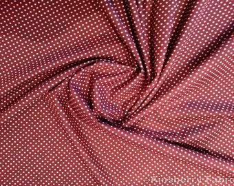 "Burgundy - 100% Cotton Poplin Dress Fabric Material - 3mm Polka Dot / Spot - Metre/Half - 44"" (112cm) wide"