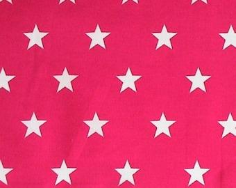 "White Stars on Cerise Pink - 100% Cotton Poplin Dress Fabric Material - 20mm Stars - Metre/Half - 44"" (112cm) wide"