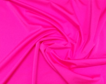 "Hot Pink - Plain Nylon/Spandex All-Way Stretch Fabric Material - 150cm (59"") wide per metre / half"