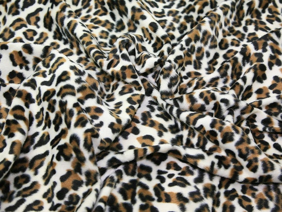 """Snow Gray Leopard Velboa Faux Fur Fabric Sold By The Yard 58/""""// 60/"""""""